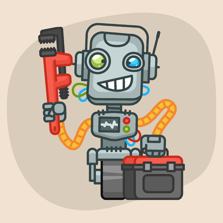 progressive art: Vector Illustration, Robot Holds Suitcase and Pipe Wrench, Format EPS 10 Illustration
