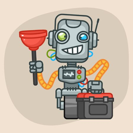 progressive art: Vector Illustration, Robot Holds Suitcase and Plunger, Format EPS 10