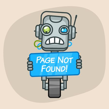 progressive art: Vector Illustration, Robot Holds Sign Page Not Found, Format EPS 10
