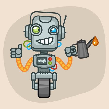 keeps: Vector Illustration, Robot Keeps Engine Oil, Format EPS 10