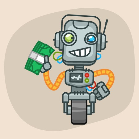 wad: Vector Illustration, Robot Holds Wad of Money, Format EPS 10