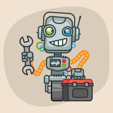 Vector Illustration, Robot Holds Suitcase and Wrench, Format EPS 10