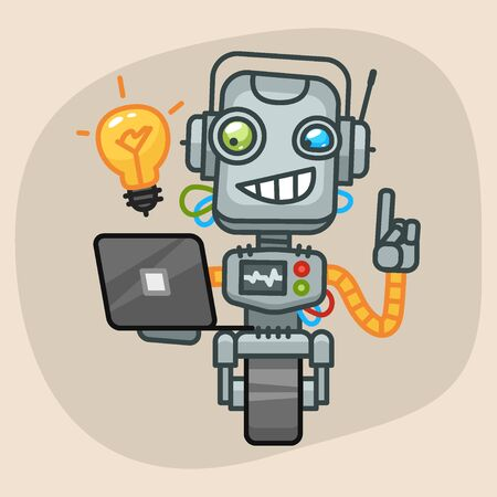 Vector Illustration, Robot Holding Laptop and Came Up Idea, Format EPS 10