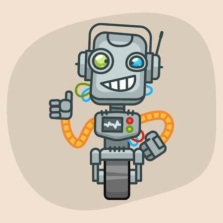 progressive art: Vector Illustration, Robot Smiling and Showing Thumbs Up, Format EPS 10