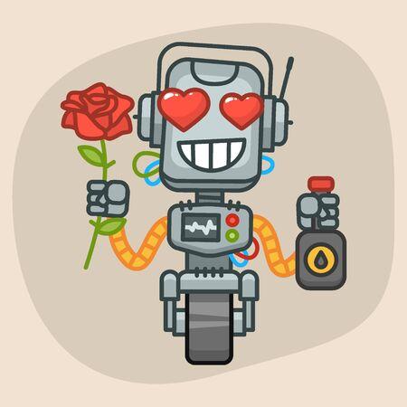 Vector Illustration, Robot Holds Oil and Rose Flower, Format EPS 10 Vector Illustration