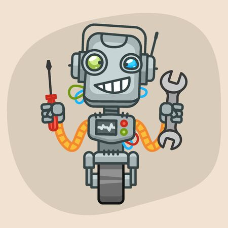 progressive art: Vector Illustration, Robot Holding Wrench and Screwdriver, Format EPS 10