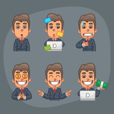 glad: Vector Illustration, Businessman Holds Surprised Face, Scared, Glad, Working with Laptop, Holding Money, Format EPS 10