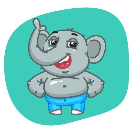 keeps: Vector Illustration, Elephant in Jeans Pants Keeps Paws on Waist, Format EPS 10 Illustration
