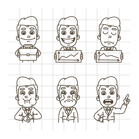glad: Vector Illustration, Businessman Holding Briefcase, Graphics, Glad, Upset, Crying, Nausea, Format EPS 10 Illustration