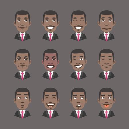 cartoon faces: Vector Illustration, Set Emotions Black Man Businessman, Format EPS 10 Illustration