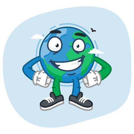 keeps: Character Earth Keeps Hands on Waist. Vector Illustration. Mascot Character. Illustration