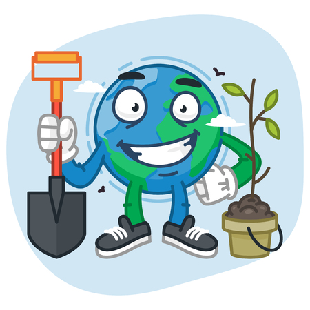 Character Earth Holding Shovel. Vector Illustration. Mascot Character.