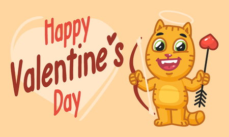 Valentines Day Cat Holds Bow and Arrow. Vector Illustration. Mascot Character.