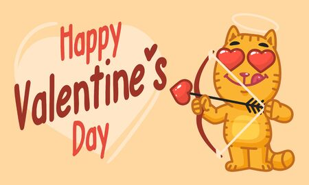 Valentines Day Cat Shoots From Bow. Vector Illustration. Mascot Character.
