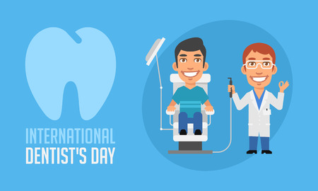 beauty smile: International Dentists Day Dentist and Patient in Armchair. Vector Illustration. Mascot Character.