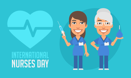 beauty smile: International Nurses Day Old and Young Nurse. Vector Illustration. Mascot Character. Illustration