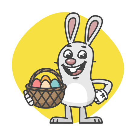 Easter Bunny Laughs and Holds Basket with Eggs. Vector Illustration. Mascot Character.