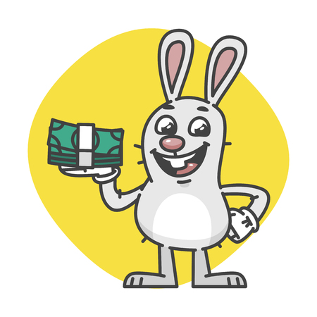 happiness or success: Bunny laughing and holding cash. Vector Illustration. Mascot Character.