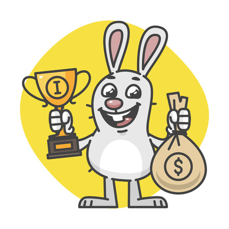 Bunny Holding Cup and Bag of Money. Vector Illustration. Mascot Character.