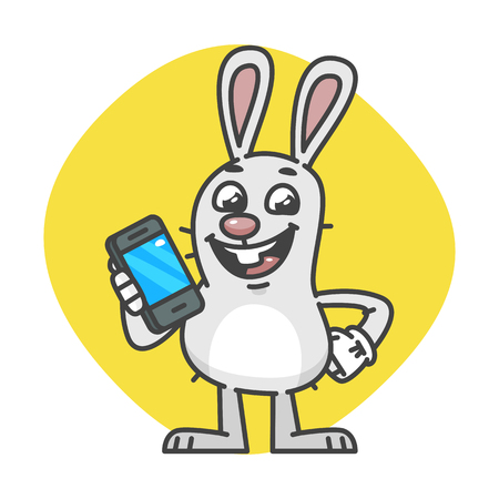Bunny laughs and Holds Mobile Phone. Vector Illustration. Mascot Character. Illustration