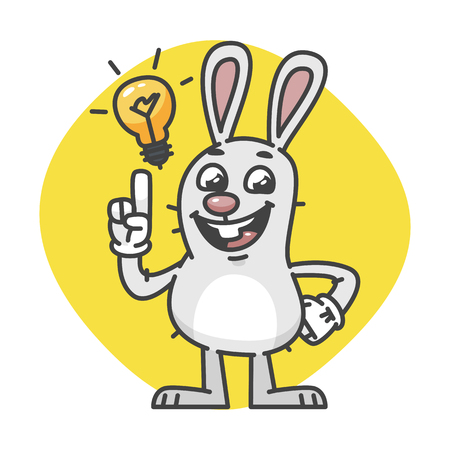 Bunny Laughs and Came Up Idea. Vector Illustration. Mascot Character.