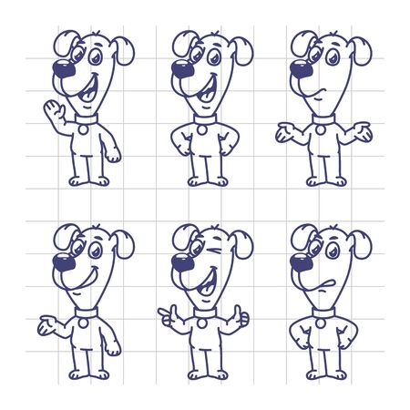 bewildered: Sketch Set Characters Dog Shows and Indicates. Vector Illustration. Mascot Character.