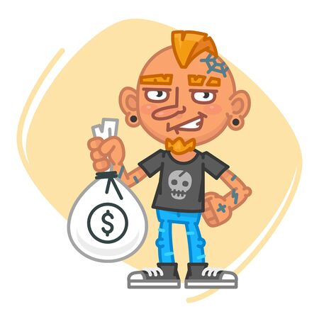 artful: Tattoo Artist Holding Big Bag of Money. Vector Illustration. Mascot Character.