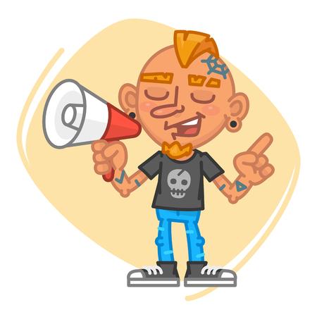Tattoo Artist Speaks Into Megaphone and Points Finger. Vector Illustration. Mascot Character. Illustration