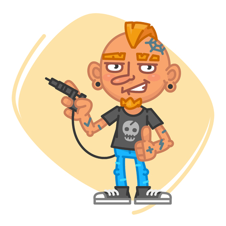 Tattoo Artist Holds Tattoo Machine and Shows Thumbs Up. Vector Illustration. Mascot Character. Illustration