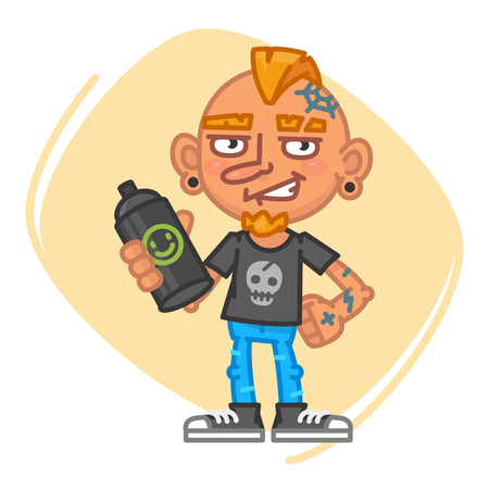 artful: Tattoo Artist Holds Can of Paint. Vector Illustration. Mascot Character. Illustration