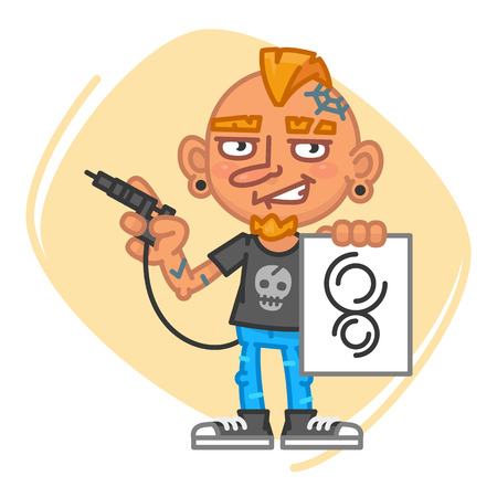 Tattoo Artist Holds Tattoo Machine and Sketch. Vector Illustration. Mascot Character. Illustration