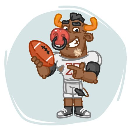 Bull Football Player Points on Ball. Vector Illustration. Mascot Character.