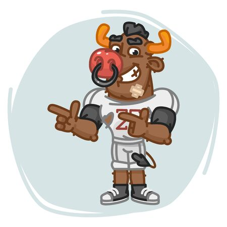 Bull Football Player Indicates Two Fingers. Vector Illustration. Mascot Character.