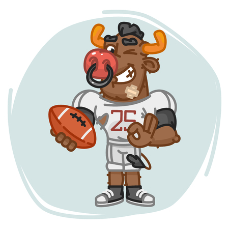 Bull Football Player Holds Ball and Shows Ok. Vector Illustration. Mascot Character.