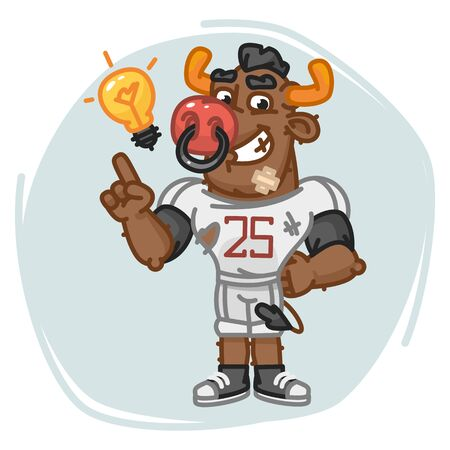 Bull Football Player Came Up With an Idea. Vector Illustration. Mascot Character. Illustration