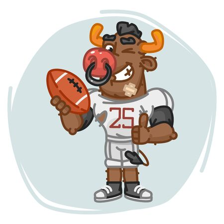 Bull Football Player Holds Ball Shows Thumbs Up and Winks. Vector Illustration. Mascot Character.