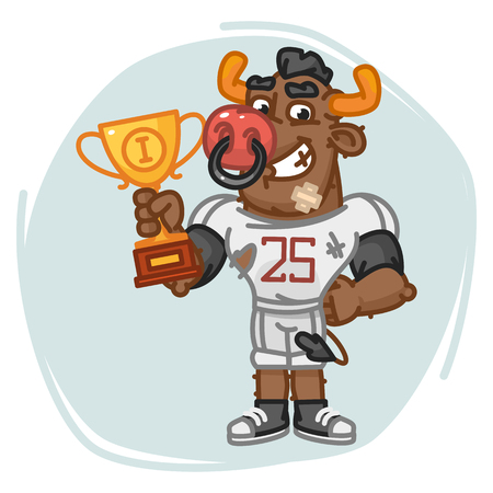 Bull Football Player Holds Cup. Vector Illustration. Mascot Character.