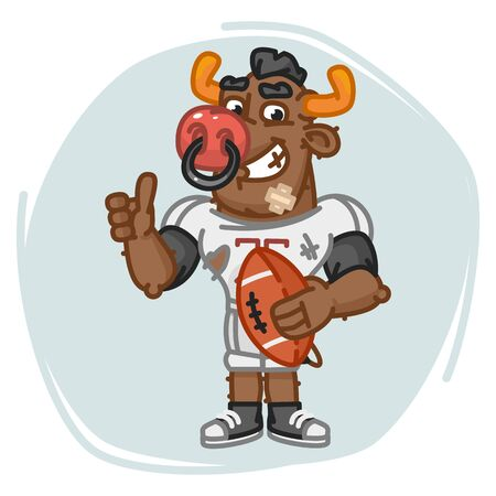 Bull Football Player Holds Ball Shows Thumbs Up. Vector Illustration. Mascot Character.
