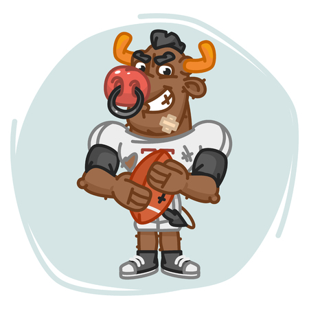 Bull Football Player Angry Holds Ball. Vector Illustration. Mascot Character. Illustration