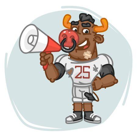 Bull Football Player Speaks Into Megaphone. Vector Illustration. Mascot Character.