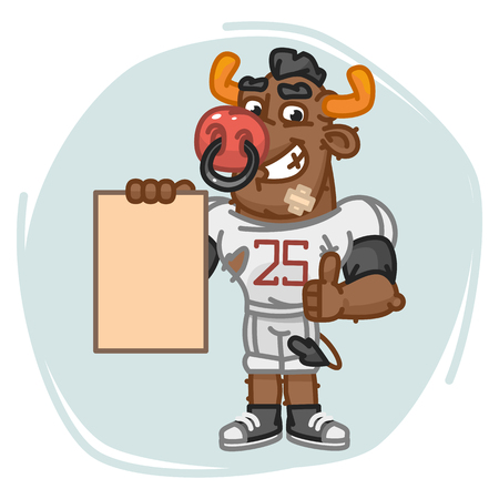 Bull Football Player Holds Paper and Shows Thumbs Up. Vector Illustration. Mascot Character. Illustration