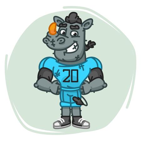 Rhino Football Player Holding Hands on Waist. Vector Illustration. Mascot Character.