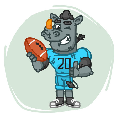 Rhino Football Player Holds Ball Shows Thumbs Up and Winks. Vector Illustration. Mascot Character.
