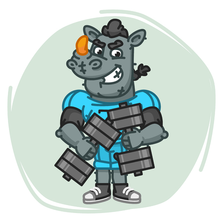 Rhino Football Player Holds Two Dumbbells. Vector Illustration. Mascot Character.