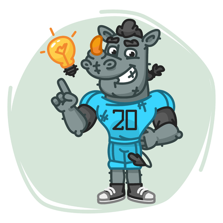 Rhino Football Player Came Up With an Idea. Vector Illustration. Mascot Character. Illustration