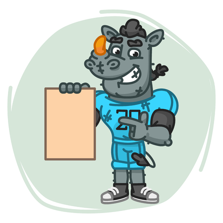 Rhino Football Player Indicates on Blank Sheet Paper. Vector Illustration. Mascot Character.