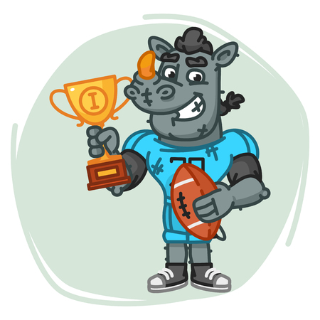 Rhino Football Player Holds Ball and Cup. Vector Illustration. Mascot Character.