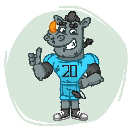 Rhino Football Player Shows Thumbs Up. Vector Illustration. Mascot Character.