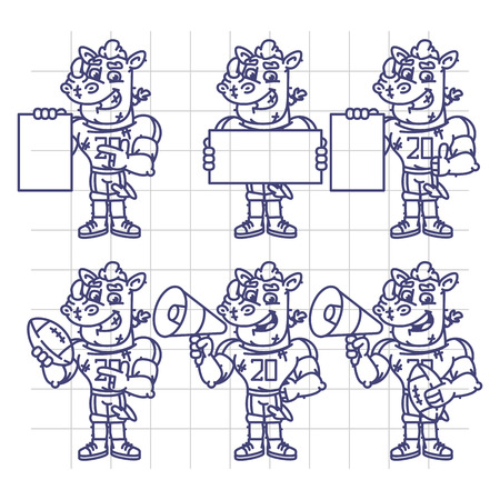 terrible: Sketch Character Set Rhino Football Player Holds Megaphone Ball Paper. Vector Illustration. Mascot Character.