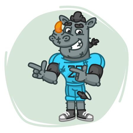 Rhino Football Player Indicates Two Fingers. Vector Illustration. Mascot Character.